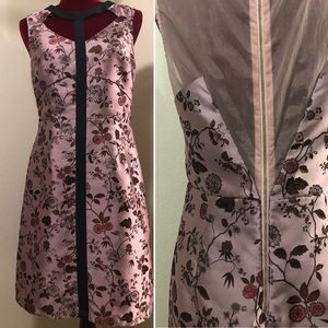 Silk floral sheath dress with sheer back
